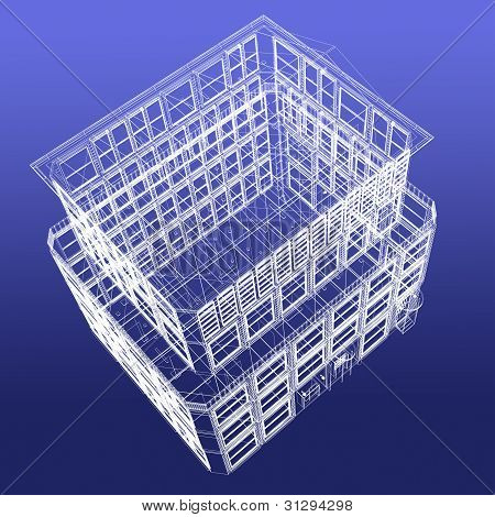 Perspective View Of Wireframe Building From Top