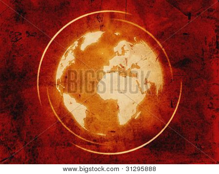 World Globe Over Vintage Background