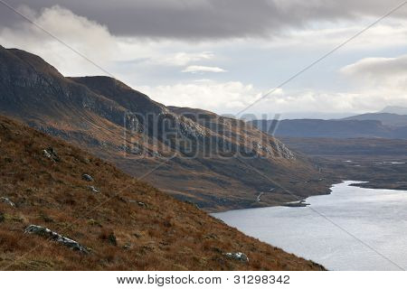 Landscape Near Stac Pollaidh With Dramatic Sky
