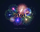 Happy New Year 2020 Congratulation With Fireworks Series. Celebratory Template With Realistic Dazzli poster