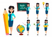 Back To School. Teacher Woman Cartoon Character poster