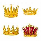 Isolated Object Of Monarchy And Gold Sign. Set Of Monarchy And Heraldic Stock Symbol For Web. poster