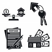 Mortgage House Icons Set. Simple Set Of Mortgage House Vector Icons For Web Design On White Backgrou poster