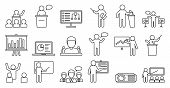Lecture Classroom Icons Set. Outline Set Of Lecture Classroom Vector Icons For Web Design Isolated O poster