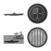Vector Illustration Of Army And Deep Icon. Collection Of Army And Nuclear Vector Icon For Stock. poster