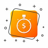 White Time Is Money Icon Isolated On White Background. Money Is Time. Effective Time Management. Con poster