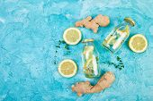 Detox Water In Bottles With Ingredients, Ginger, Lemon, Mint poster