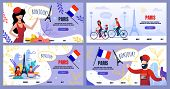 Flat Landing Page Set Advertising Voyage To Paris. Cartoon Male And Female Tourists Characters, Cult poster