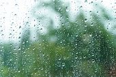 Rain Drops On Rainy Day On Outside Window Glass With Blurred Edges. Rain Outside Window Pane In Spri poster