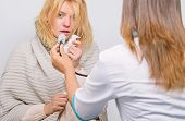 Adult Fever Symptoms. Treatment And When To Call Doctor. Doctor Woman Examine Sick Person. Recognize poster