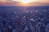 Chicago City. Cityscape Image Of Chicago Downtown During Sunset Blue Hour. poster