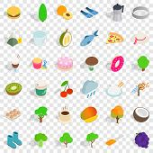 Vegetarian Cook Icons Set. Isometric Style Of 36 Vegetarian Cook Icons For Web For Any Design poster