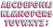Lol Girly Doll Abc. Polka Dots Alphabet Letters Set. Pop Art Font. Vector poster