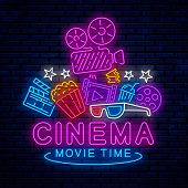 Cinema, Night Neon Sign, Logo, Emblem, Icon For Movie. Bright Signboard, Bright Night Advertising. G poster