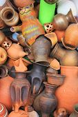 Pottery Vessels, Vase And Other Objects Made Of Clay And Natural Ceramic Materials In A Pile. Top Vi poster