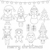 Christmas Characters, Coloring Page (or Digital Stamps) poster