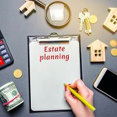 Table With Wooden Houses, Calculator, Magnifying Glass With The Word Estate Planning. Property Insur poster