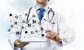 Horizontal Shot Of Professional Young Doctor In White Medical Suit Presenting Social Network Structu poster