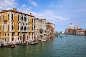 View Of Grand Canal And Basilica Di Santa Maria Della Salute In Venice, Italy. Venice Is Situated Ac poster