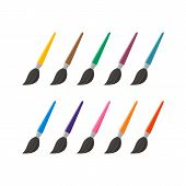 Set Of Paint Brush Vector Icon Isolated On White Background. Paint Brush Icon In Modern Design Style poster