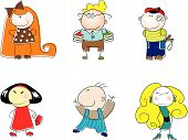 image of little boy  - vector set of funny little kids - JPG