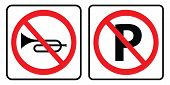 No Horn Sign And No Parking Symbol.no Horn Sign And No Parking Symbol On White Background Drawing By poster