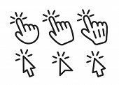 Vector Set Of Mouse Cursors And Pointing Hands. Icons, Signs Of Pointing Hands And Mouse Cursors. poster