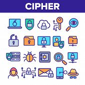 Cipher Linear Icons Set. Information Encryption Thin Line Contour Symbols Pack. Digital Security Pic poster