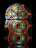 picture of stained glass  - Stained Glass Windows with Star of David Designs in Jewish Synagogue Interior - JPG