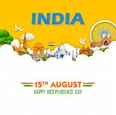 Illustration Of Famous Indian Monument And Landmark For Happy Independence Day Of India poster