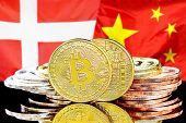 Concept For Investors In Cryptocurrency And Blockchain Technology In The Denmark And China. Bitcoins poster