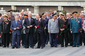 MOSCOW - MAY 8: State Duma deputies and veterans before ceremony of wreath laying at tomb of Unknown