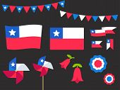 National Holiday Fiestas Patrias (dieciocho), Independence Day Of Chile, Vector Design Elements Set. poster
