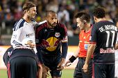 CARSON, CA. - MAY 7: Los Angeles Galaxy M David Beckham #23 (L) & New York Red Bulls F Thierry Henry