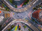 Aerial View Of Cars And Trains With Intersection Or Junction With Traffic, Taipei Downtown, Taiwan.  poster