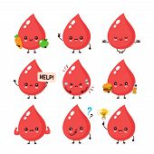 Cute Happy Smiling And Sad Blood Drop Character Set Collection. Vector Flat Cartoon Illustration Ico poster