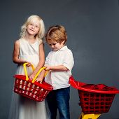Buy Products. Play Shop Game. Cute Buyer Customer Client Hold Shopping Cart. Girl And Boy Children S poster