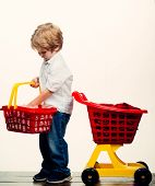 Play Shop. Cute Buyer Customer Client Hold Shopping Cart. Kids Store. Boy Child Shopping. Big Purcha poster