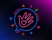 Social Responsibility Line Icon. Neon Laser Lights. Hand With Heart Sign. Charity Symbol. Glow Laser poster
