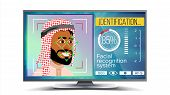 Face Recognition, Identification System . Face Recognition Technology. Arab Face On Screen. Human Fa poster