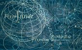 Abstract Futuristic Stripe Line Printed Circuit Board Pattern With Gear Wheel And Math Formula On Bl poster