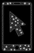 Glowing Mesh Mobile Arrow Pointer With Sparkle Effect. Abstract Illuminated Model Of Mobile Arrow Po poster