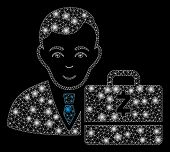 Glowing Mesh Zcash Accounter With Sparkle Effect. Abstract Illuminated Model Of Zcash Accounter Icon poster