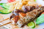 image of kebab  - skewers mix arabic kebabs in Jordanian street restaurant - JPG