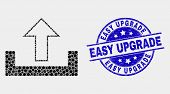 Dot Upload Mosaic Icon And Easy Upgrade Seal. Blue Vector Round Distress Seal Stamp With Easy Upgrad poster