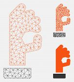 Mesh Ok Gesture Model With Triangle Mosaic Icon. Wire Frame Triangular Network Of Ok Gesture. Vector poster