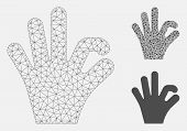 Mesh Ok Gesture Model With Triangle Mosaic Icon. Wire Carcass Triangular Network Of Ok Gesture. Vect poster