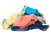 Pile Of Clothes Isolated. Stack Of Colorful Dirty Clothes Ready For The Laundry Isolated On A White  poster