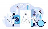 Ophthalmology Concept. Ophthalmologist Checks Patient Sight. Optical Eyes Test, Spectacles Technolog poster