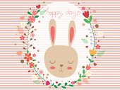 Sweet And Cute Rabbit And Floral Wreath On Strip White And Pink With Copy Space. Pastel Wallpaper Fl poster